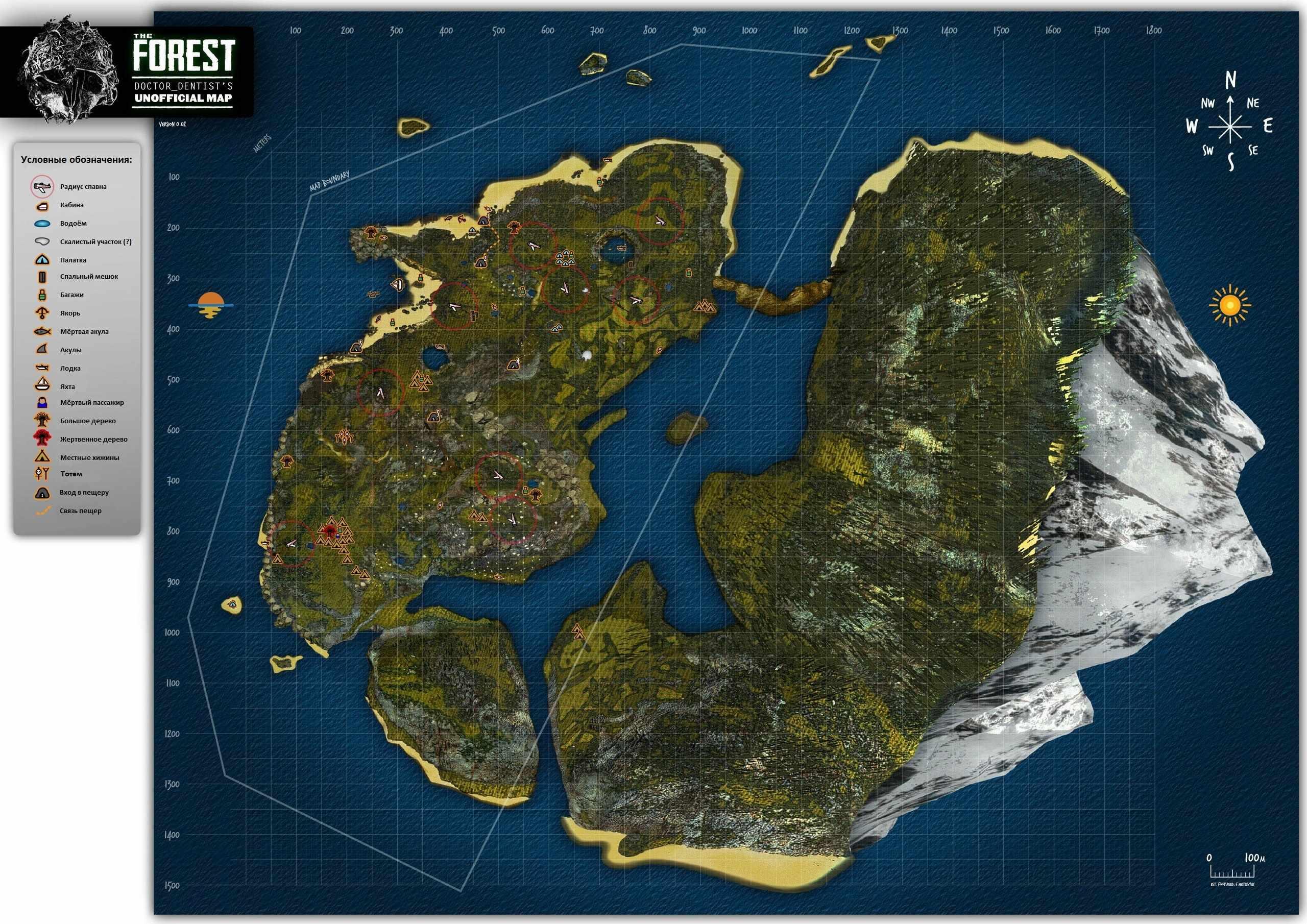 Карта острова в The Forest